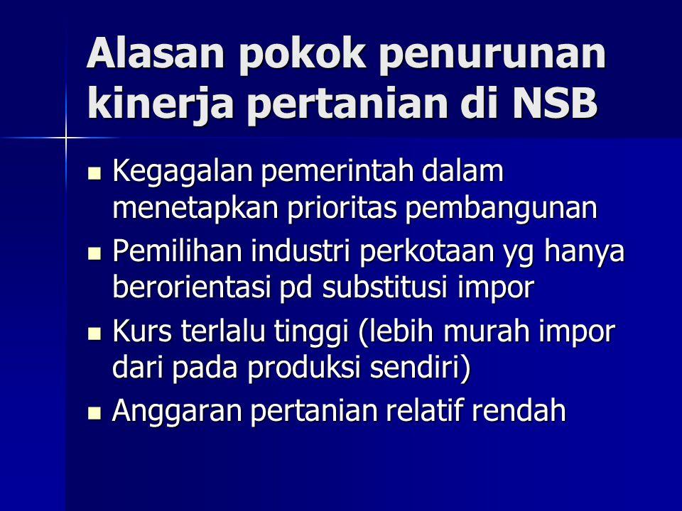 Alasan pokok penurunan kinerja pertanian di NSB Kegagalan pemerintah dalam menetapkan prioritas pembangunan Kegagalan pemerintah dalam menetapkan prio