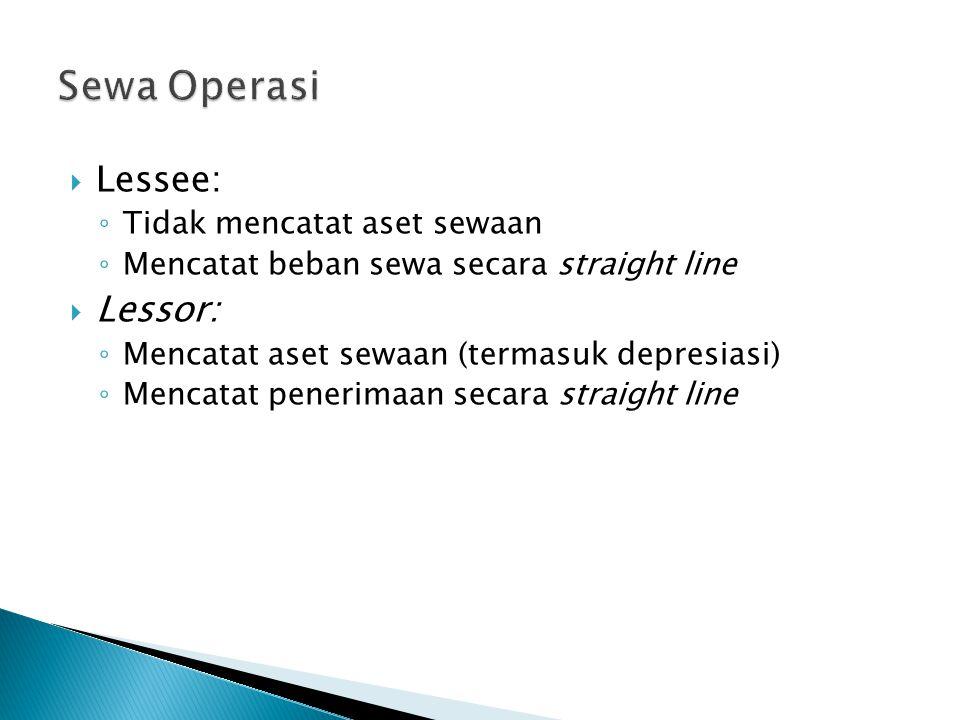  Lessee: ◦ Tidak mencatat aset sewaan ◦ Mencatat beban sewa secara straight line  Lessor: ◦ Mencatat aset sewaan (termasuk depresiasi) ◦ Mencatat penerimaan secara straight line