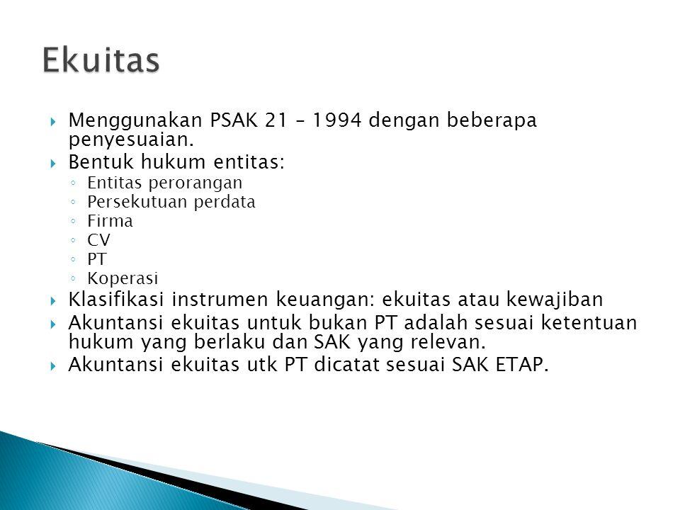  Menggunakan PSAK 21 – 1994 dengan beberapa penyesuaian.