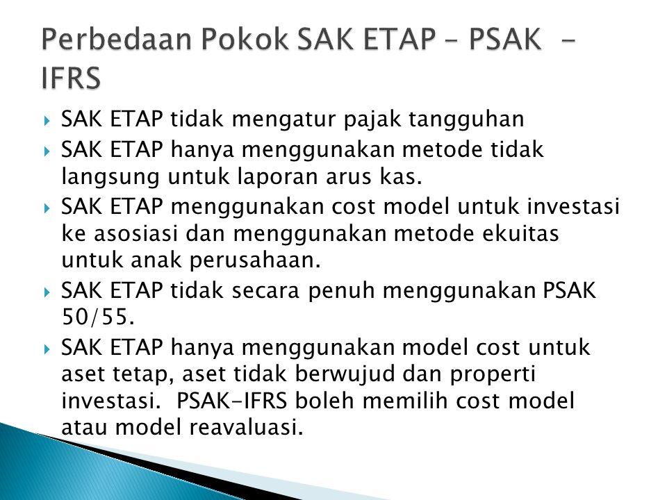  SAK ETAP tidak mengatur pajak tangguhan  SAK ETAP hanya menggunakan metode tidak langsung untuk laporan arus kas.