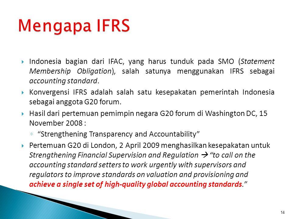  Indonesia bagian dari IFAC, yang harus tunduk pada SMO (Statement Membership Obligation), salah satunya menggunakan IFRS sebagai accounting standard.