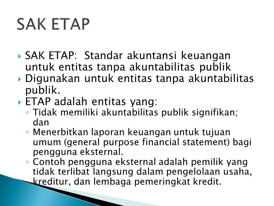  SAK ETAP: Standar akuntansi keuangan untuk entitas tanpa akuntabilitas publik  Digunakan untuk entitas tanpa akuntabilitas publik.
