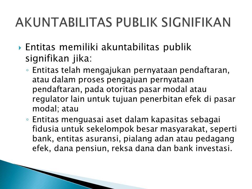  Entitas memiliki akuntabilitas publik signifikan jika: ◦ Entitas telah mengajukan pernyataan pendaftaran, atau dalam proses pengajuan pernyataan pendaftaran, pada otoritas pasar modal atau regulator lain untuk tujuan penerbitan efek di pasar modal; atau ◦ Entitas menguasai aset dalam kapasitas sebagai fidusia untuk sekelompok besar masyarakat, seperti bank, entitas asuransi, pialang adan atau pedagang efek, dana pensiun, reksa dana dan bank investasi.