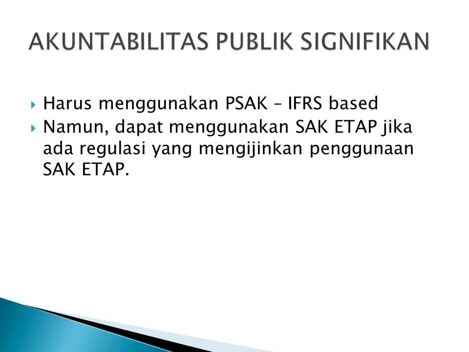  Harus menggunakan PSAK – IFRS based  Namun, dapat menggunakan SAK ETAP jika ada regulasi yang mengijinkan penggunaan SAK ETAP.