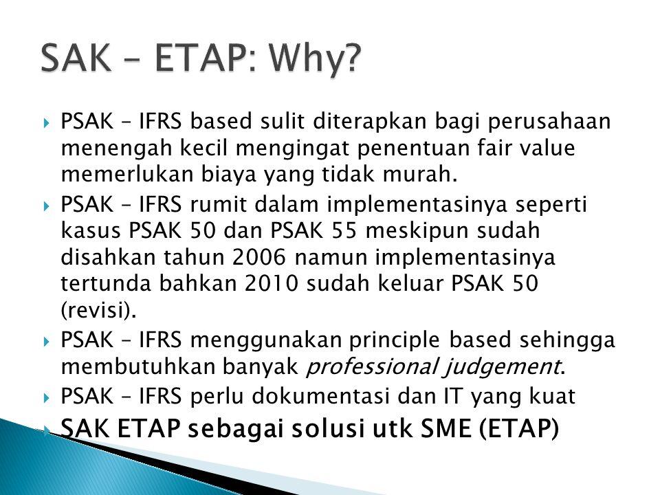  PSAK – IFRS based sulit diterapkan bagi perusahaan menengah kecil mengingat penentuan fair value memerlukan biaya yang tidak murah.