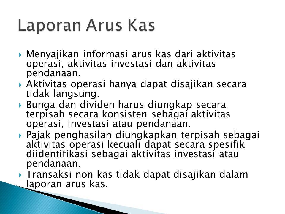  Menyajikan informasi arus kas dari aktivitas operasi, aktivitas investasi dan aktivitas pendanaan.