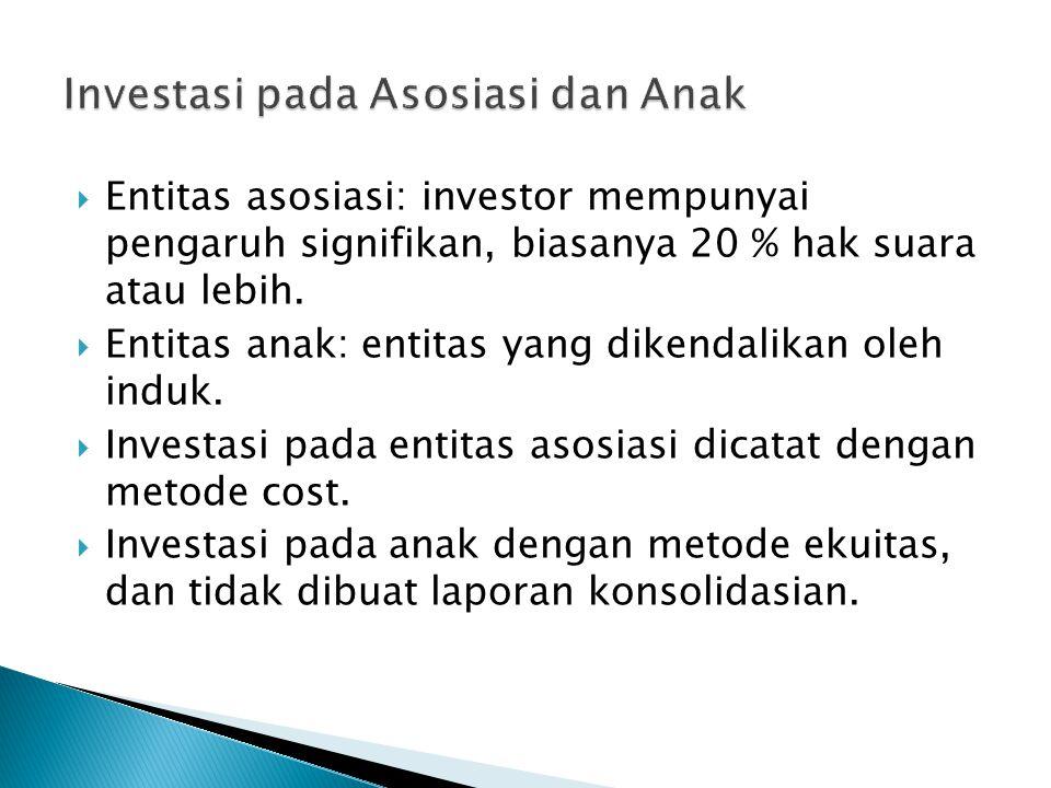  Entitas asosiasi: investor mempunyai pengaruh signifikan, biasanya 20 % hak suara atau lebih.