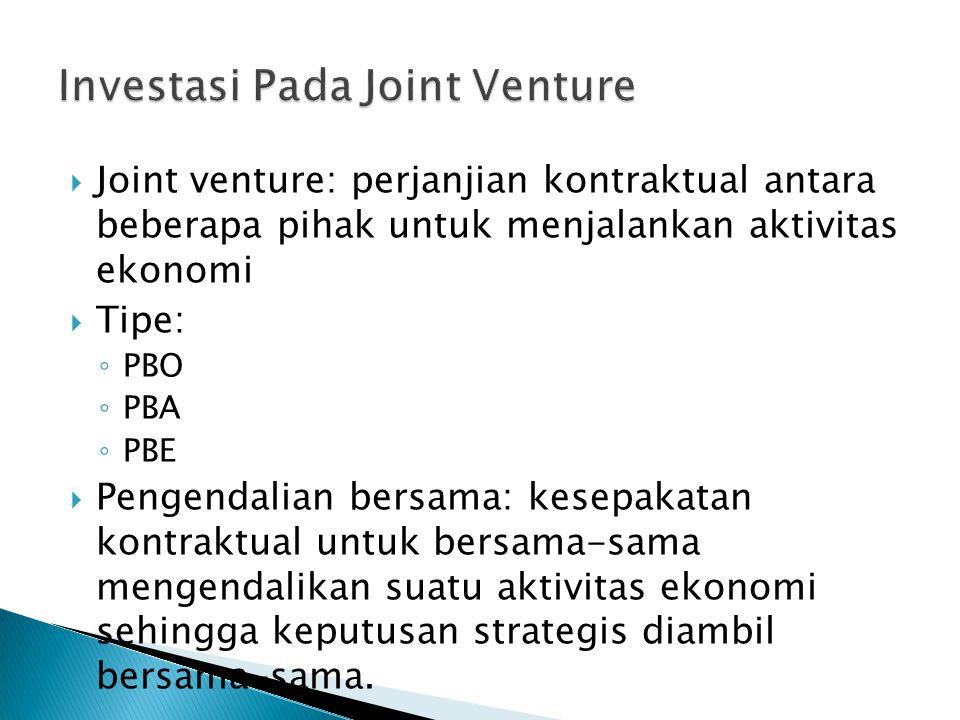  Joint venture: perjanjian kontraktual antara beberapa pihak untuk menjalankan aktivitas ekonomi  Tipe: ◦ PBO ◦ PBA ◦ PBE  Pengendalian bersama: kesepakatan kontraktual untuk bersama-sama mengendalikan suatu aktivitas ekonomi sehingga keputusan strategis diambil bersama-sama.