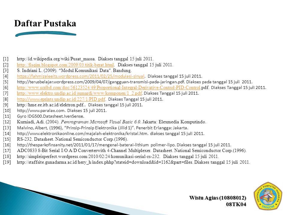 Wistu Agias (10808012) 08TK04 Daftar Pustaka [1]http://id.wikipedia.org/wiki/Pusat_massa. Diakses tanggal 15 juli 2011. [2]http://fisqim.blogspot.com/
