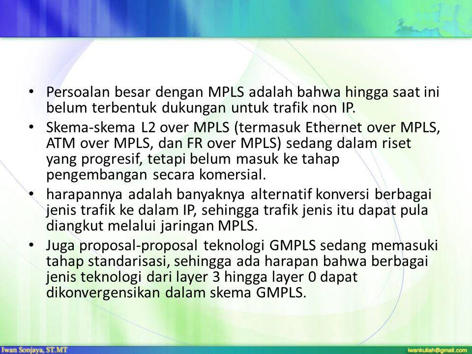 Persoalan besar dengan MPLS adalah bahwa hingga saat ini belum terbentuk dukungan untuk trafik non IP. Skema-skema L2 over MPLS (termasuk Ethernet ove