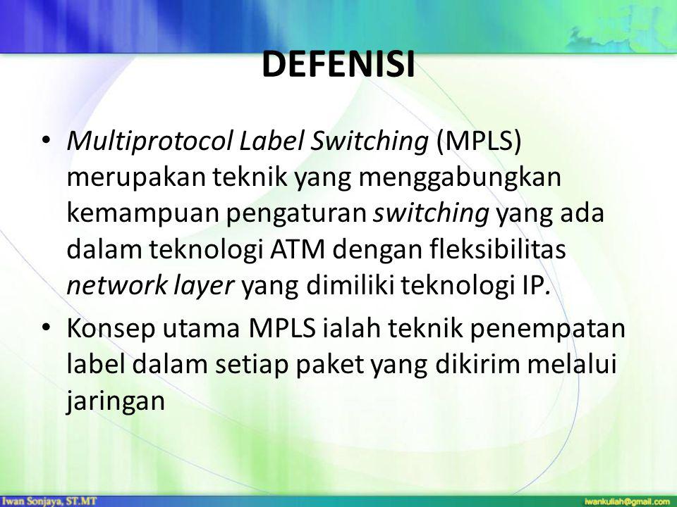 DEFENISI Multiprotocol Label Switching (MPLS) merupakan teknik yang menggabungkan kemampuan pengaturan switching yang ada dalam teknologi ATM dengan f