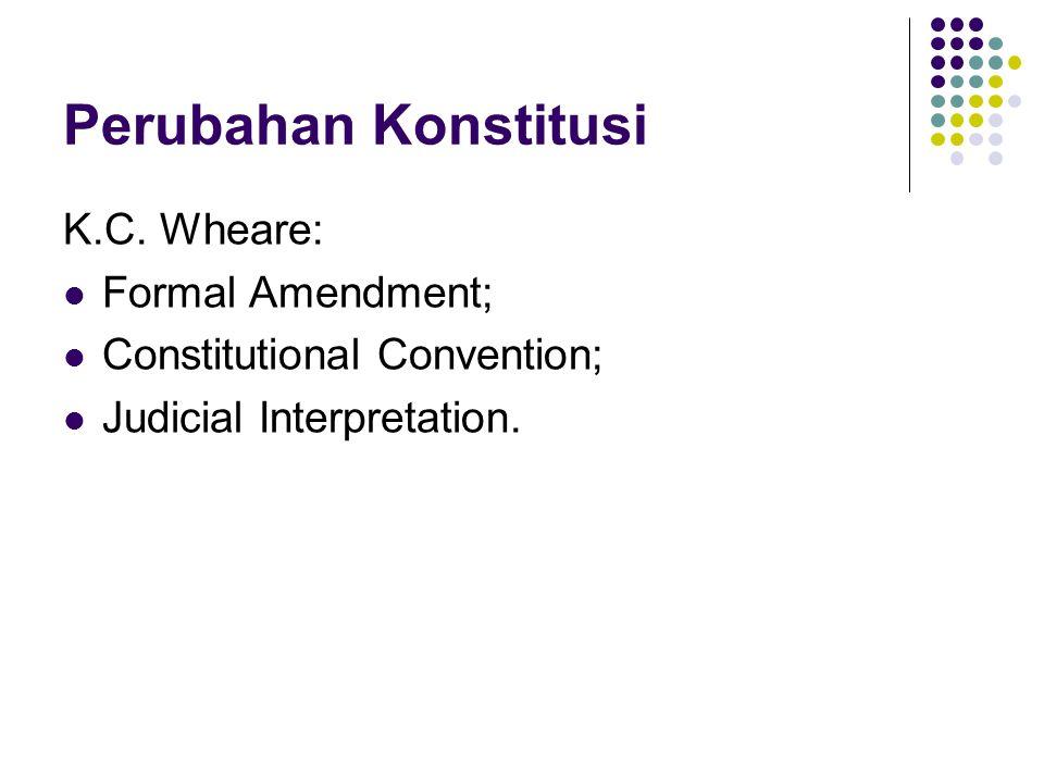 Perubahan Konstitusi K.C. Wheare: Formal Amendment; Constitutional Convention; Judicial Interpretation.