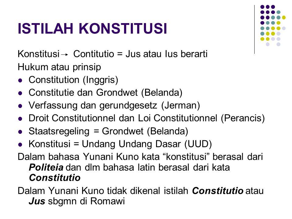 ISTILAH KONSTITUSI Konstitusi Contitutio = Jus atau Ius berarti Hukum atau prinsip Constitution (Inggris) Constitutie dan Grondwet (Belanda) Verfassun