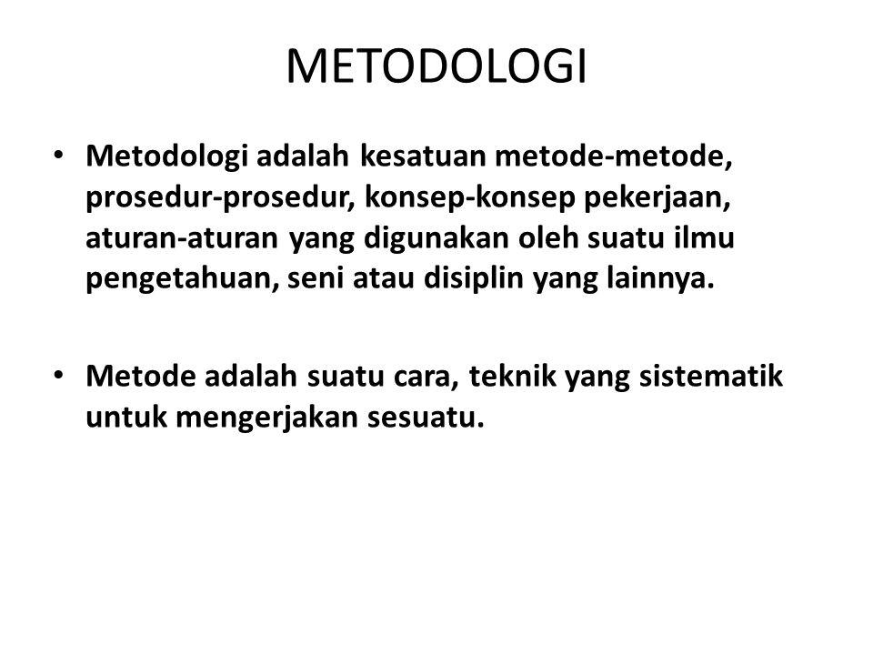 METODOLOGI Metodologi adalah kesatuan metode-metode, prosedur-prosedur, konsep-konsep pekerjaan, aturan-aturan yang digunakan oleh suatu ilmu pengetah