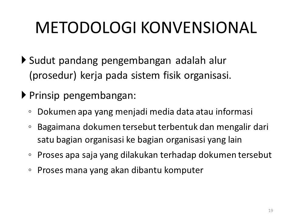 19 METODOLOGI KONVENSIONAL  Sudut pandang pengembangan adalah alur (prosedur) kerja pada sistem fisik organisasi.  Prinsip pengembangan: ◦ Dokumen a