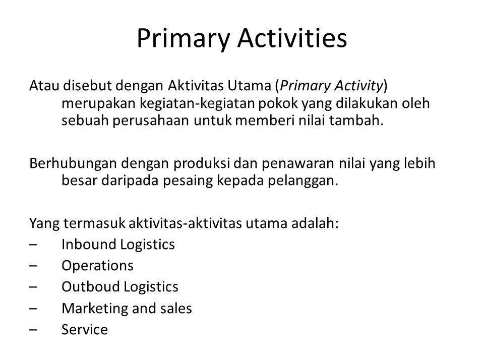 Primary Activities Atau disebut dengan Aktivitas Utama (Primary Activity) merupakan kegiatan-kegiatan pokok yang dilakukan oleh sebuah perusahaan untu