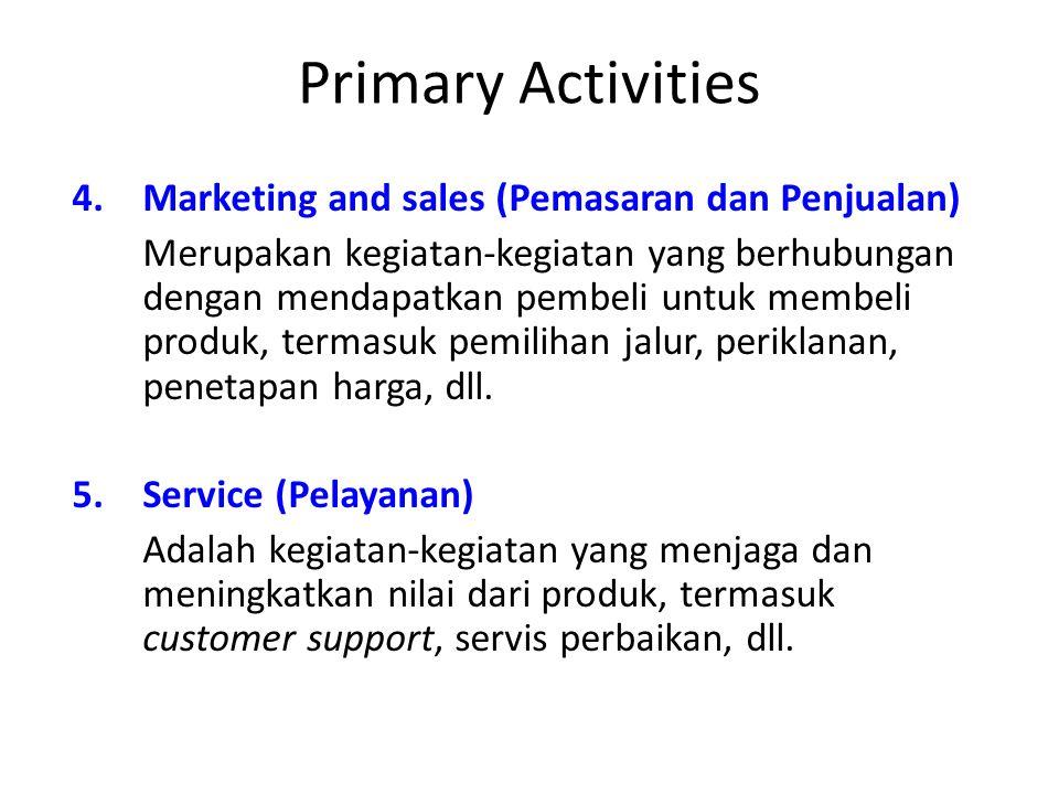Primary Activities 4.Marketing and sales (Pemasaran dan Penjualan) Merupakan kegiatan-kegiatan yang berhubungan dengan mendapatkan pembeli untuk membe