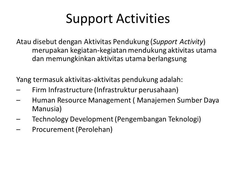 Support Activities Atau disebut dengan Aktivitas Pendukung (Support Activity) merupakan kegiatan-kegiatan mendukung aktivitas utama dan memungkinkan a