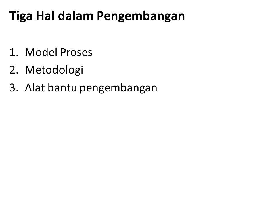 Tiga Hal dalam Pengembangan 1.Model Proses 2.Metodologi 3.Alat bantu pengembangan