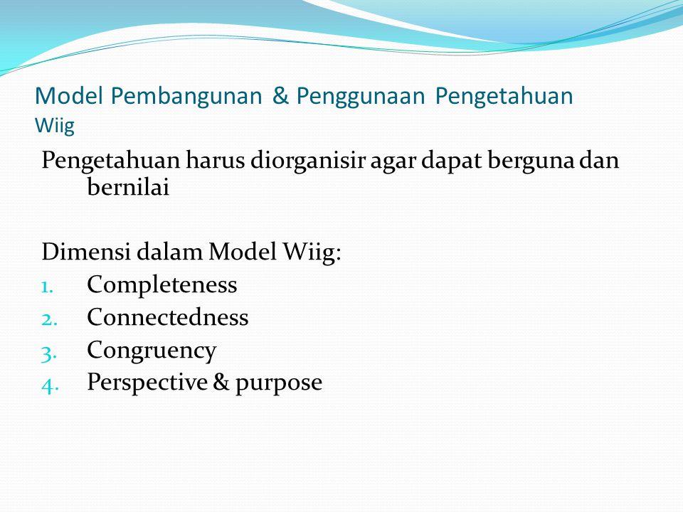 Model Pembangunan & Penggunaan Pengetahuan Wiig Pengetahuan harus diorganisir agar dapat berguna dan bernilai Dimensi dalam Model Wiig: 1. Completenes