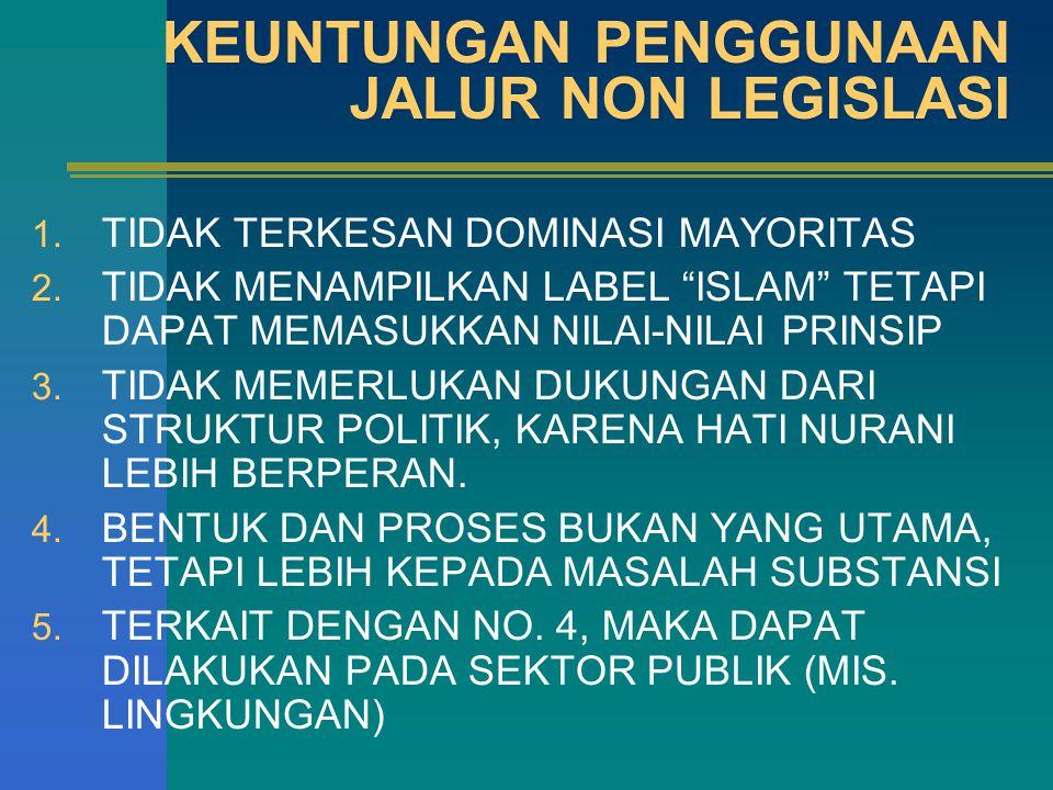 KEUNTUNGAN PENGGUNAAN JALUR NON LEGISLASI 1.TIDAK TERKESAN DOMINASI MAYORITAS 2.