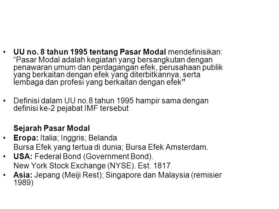 """UU no. 8 tahun 1995 tentang Pasar Modal mendefinisikan: """"Pasar Modal adalah kegiatan yang bersangkutan dengan penawaran umum dan perdagangan efek, per"""