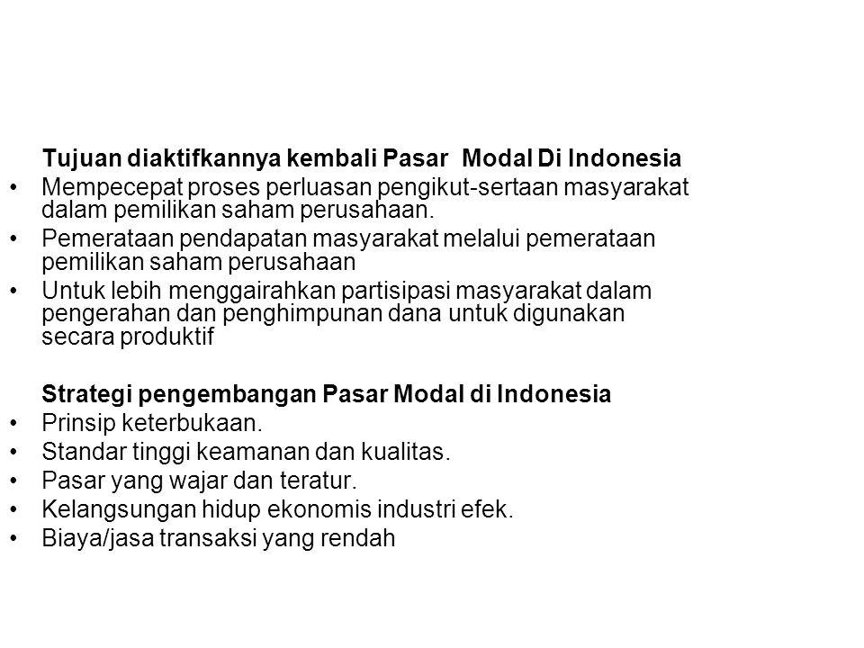 Tujuan diaktifkannya kembali Pasar Modal Di Indonesia Mempecepat proses perluasan pengikut-sertaan masyarakat dalam pemilikan saham perusahaan. Pemera