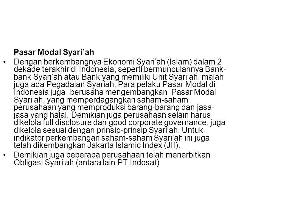 Pasar Modal Syari'ah Dengan berkembangnya Ekonomi Syari'ah (Islam) dalam 2 dekade terakhir di Indonesia, seperti bermunculannya Bank- bank Syari'ah atau Bank yang memiliki Unit Syari'ah, malah juga ada Pegadaian Syariah.