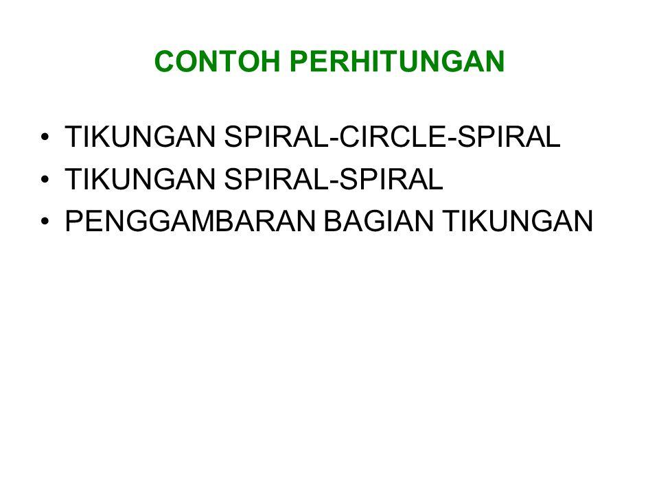 CONTOH PERHITUNGAN TIKUNGAN SPIRAL-CIRCLE-SPIRAL TIKUNGAN SPIRAL-SPIRAL PENGGAMBARAN BAGIAN TIKUNGAN