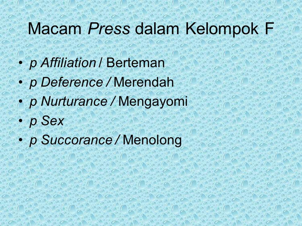 Macam Press dalam Kelompok F p Affiliation / Berteman p Deference / Merendah p Nurturance / Mengayomi p Sex p Succorance / Menolong