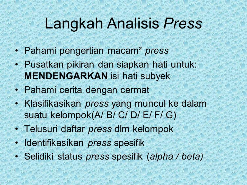 Langkah Analisis Press Pahami pengertian macam² press Pusatkan pikiran dan siapkan hati untuk: MENDENGARKAN isi hati subyek Pahami cerita dengan cerma