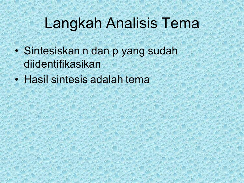 Langkah Analisis Tema Sintesiskan n dan p yang sudah diidentifikasikan Hasil sintesis adalah tema