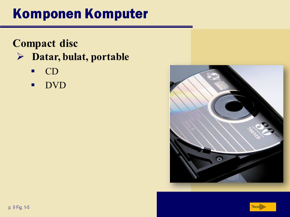 Komponen Komputer Compact disc p. 9 Fig. 1-5 Next  Datar, bulat, portable  CD  DVD