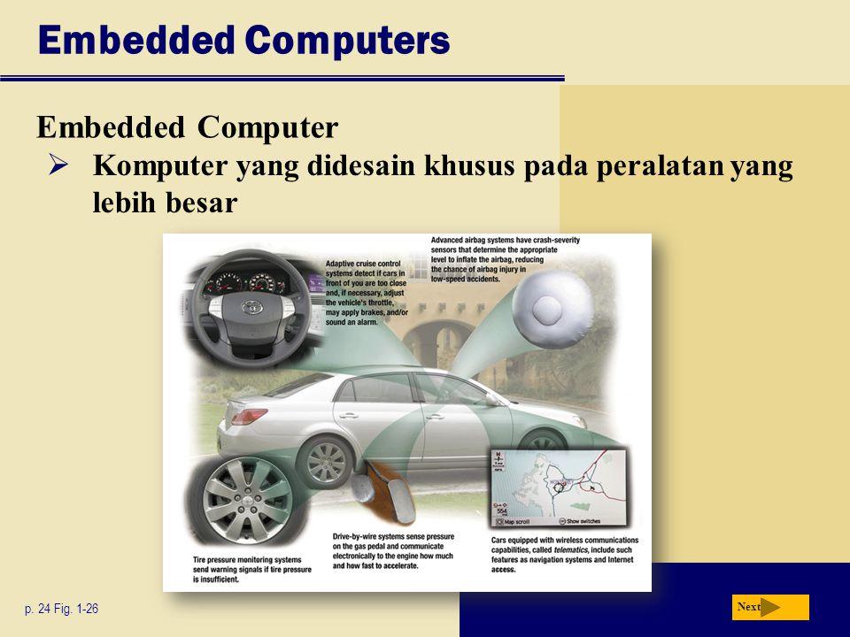 Embedded Computers Embedded Computer  Komputer yang didesain khusus pada peralatan yang lebih besar p.