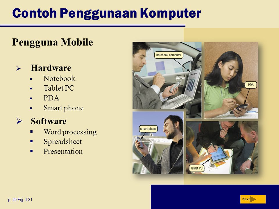  Hardware  Notebook  Tablet PC  PDA  Smart phone Contoh Penggunaan Komputer Pengguna Mobile p. 29 Fig. 1-31  Software  Word processing  Spread