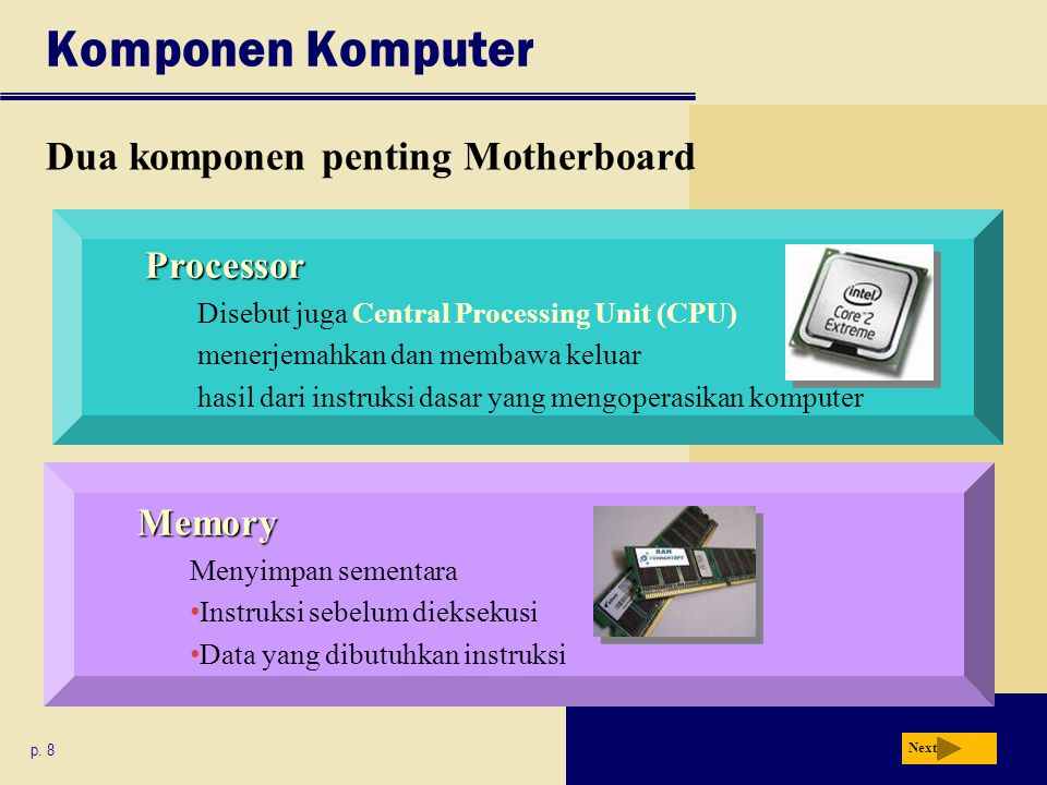 Komponen Komputer Dua komponen penting Motherboard p.