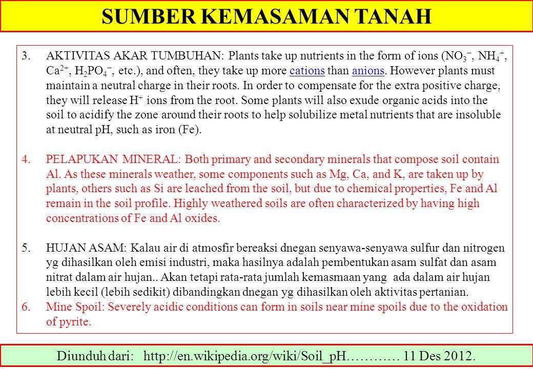Diunduh dari: http://en.wikipedia.org/wiki/Soil_pH………… 11 Des 2012. 3.AKTIVITAS AKAR TUMBUHAN: Plants take up nutrients in the form of ions (NO 3 −, N