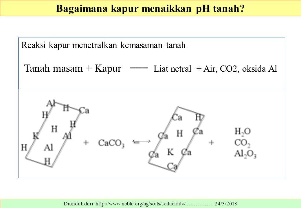 Diunduh dari: http://www.noble.org/ag/soils/soilacidity/ …………… 24/3/2013 Bagaimana kapur menaikkan pH tanah? Reaksi kapur menetralkan kemasaman tanah