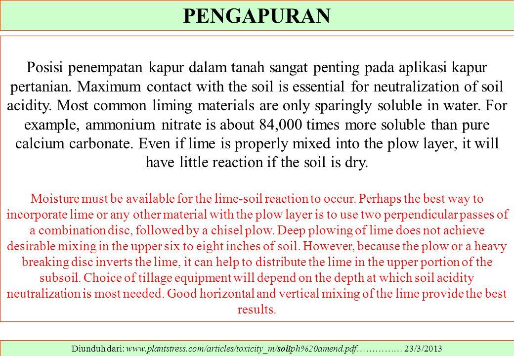 PENGAPURAN Diunduh dari: www.plantstress.com/articles/toxicity_m/soilph%20amend.pdf…………… 23/3/2013 Posisi penempatan kapur dalam tanah sangat penting