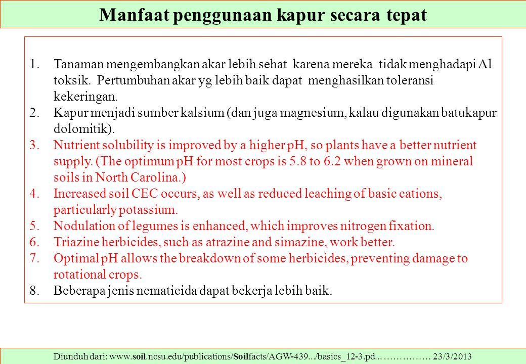 Manfaat penggunaan kapur secara tepat Diunduh dari: www.soil.ncsu.edu/publications/Soilfacts/AGW-439.../basics_12-3.pd... …………… 23/3/2013 1.Tanaman me