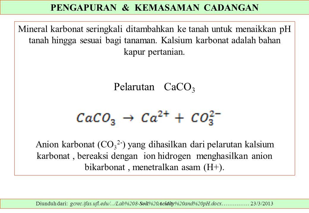 PENGAPURAN & KEMASAMAN CADANGAN Diunduh dari: gcrec.ifas.ufl.edu/.../Lab%208-Soil%20Acidity%20and%20pH.docx…………… 23/3/2013 Mineral karbonat seringkali