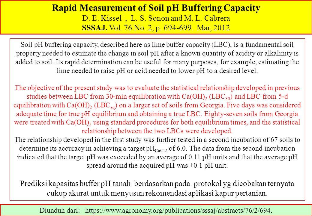 Rapid Measurement of Soil pH Buffering Capacity D. E. Kissel, L. S. Sonon and M. L. Cabrera SSSAJ. Vol. 76 No. 2, p. 694-699. Mar, 2012 Diunduh dari:
