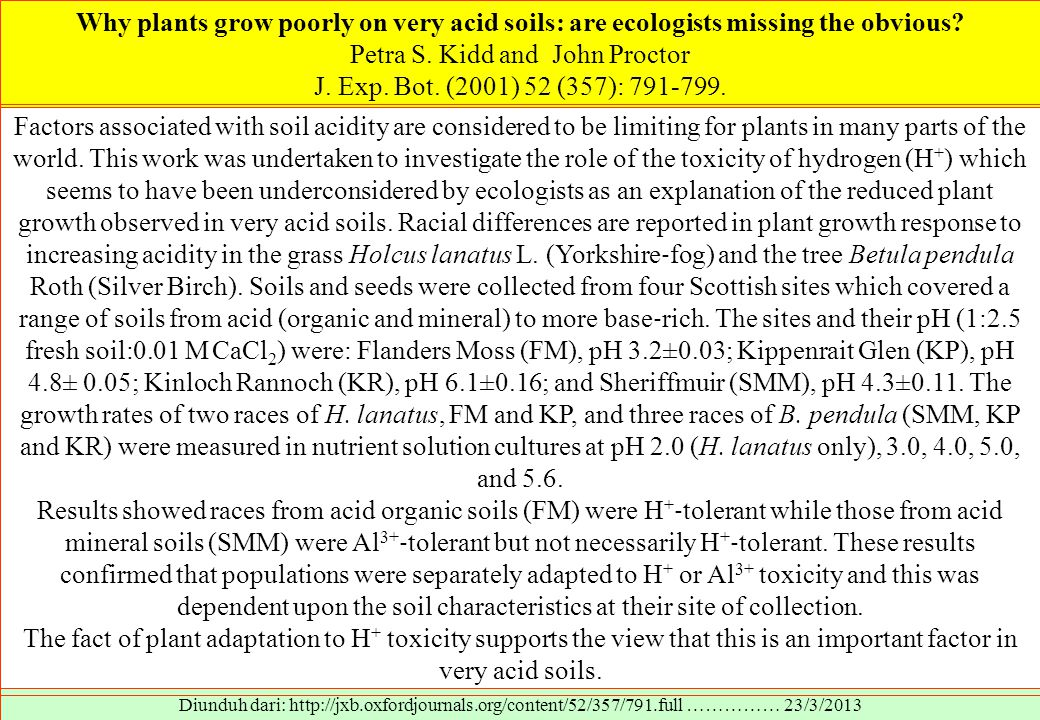 Why plants grow poorly on very acid soils: are ecologists missing the obvious.