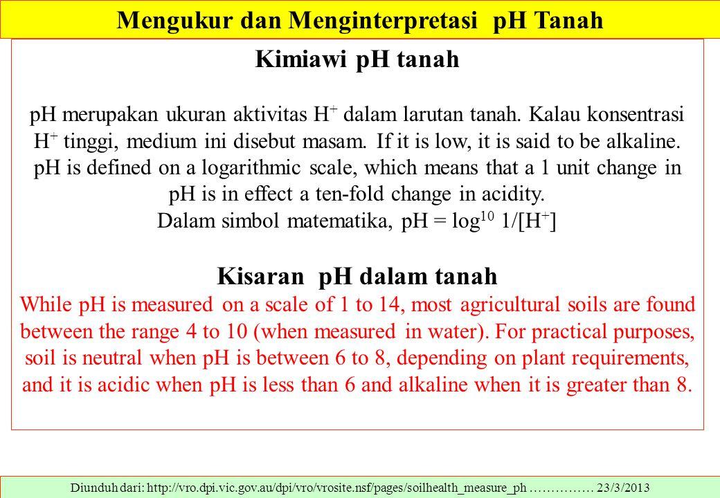 Mengukur dan Menginterpretasi pH Tanah Diunduh dari: http://vro.dpi.vic.gov.au/dpi/vro/vrosite.nsf/pages/soilhealth_measure_ph …………… 23/3/2013 Kimiawi