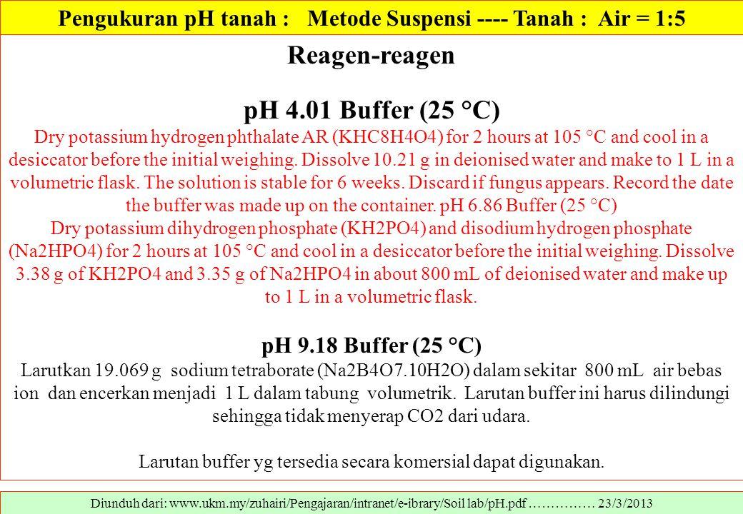 Diunduh dari: www.ukm.my/zuhairi/Pengajaran/intranet/e-ibrary/Soil lab/pH.pdf …………… 23/3/2013 Reagen-reagen pH 4.01 Buffer (25 °C) Dry potassium hydro
