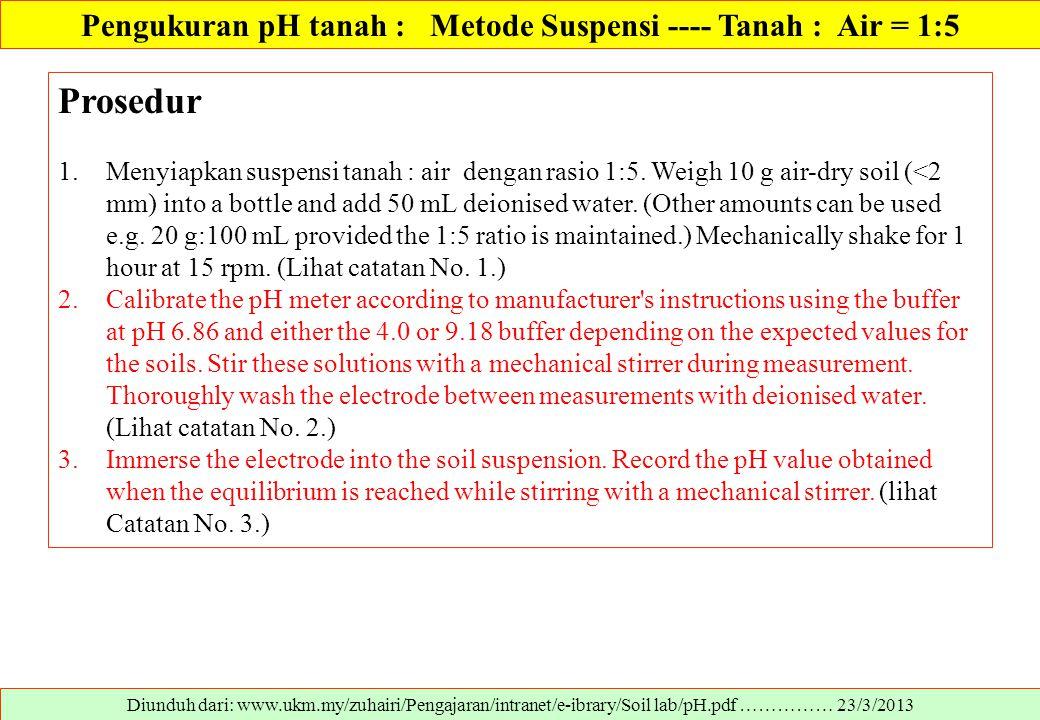 Diunduh dari: www.ukm.my/zuhairi/Pengajaran/intranet/e-ibrary/Soil lab/pH.pdf …………… 23/3/2013 Prosedur 1.Menyiapkan suspensi tanah : air dengan rasio