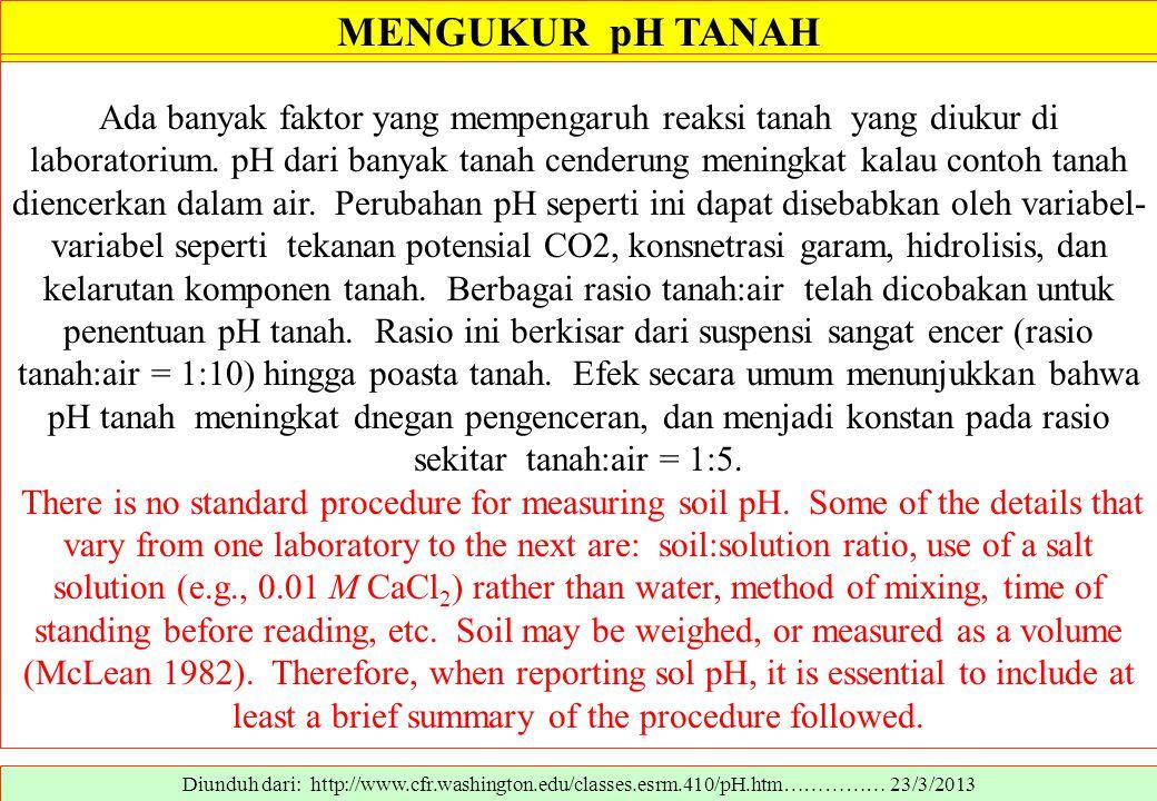 MENGUKUR pH TANAH Diunduh dari: http://www.cfr.washington.edu/classes.esrm.410/pH.htm…………… 23/3/2013 Ada banyak faktor yang mempengaruh reaksi tanah y