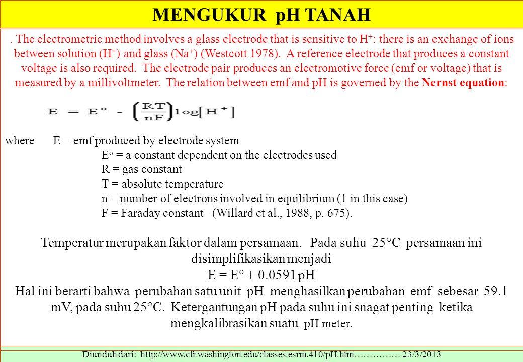 MENGUKUR pH TANAH Diunduh dari: http://www.cfr.washington.edu/classes.esrm.410/pH.htm…………… 23/3/2013. The electrometric method involves a glass electr