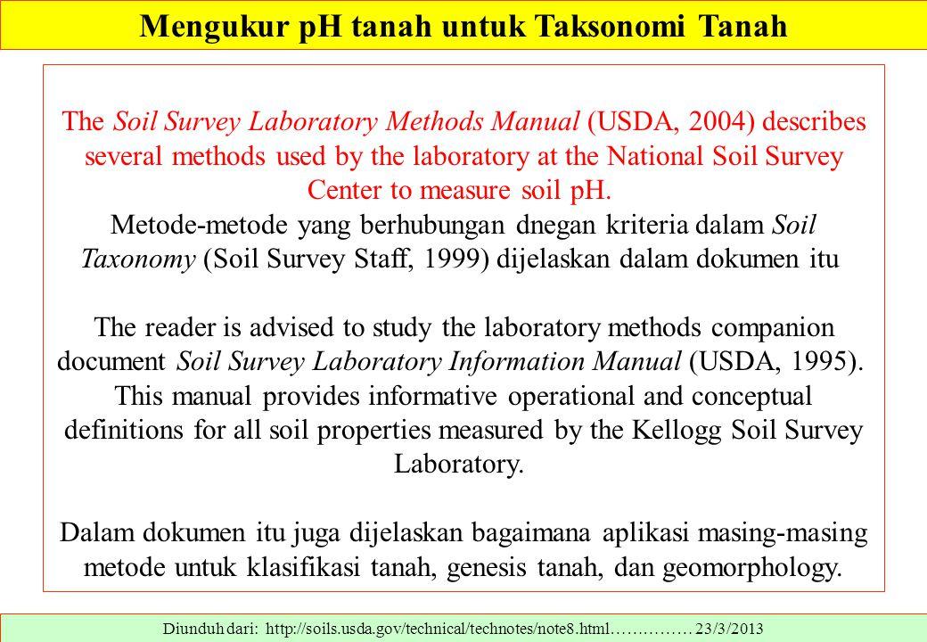 Mengukur pH tanah untuk Taksonomi Tanah Diunduh dari: http://soils.usda.gov/technical/technotes/note8.html…………… 23/3/2013 The Soil Survey Laboratory M