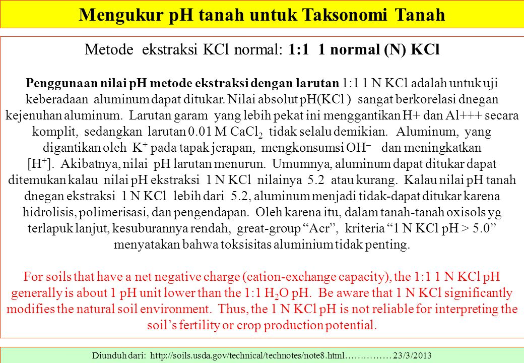 Diunduh dari: http://soils.usda.gov/technical/technotes/note8.html…………… 23/3/2013 Metode ekstraksi KCl normal: 1:1 1 normal (N) KCl Penggunaan nilai p